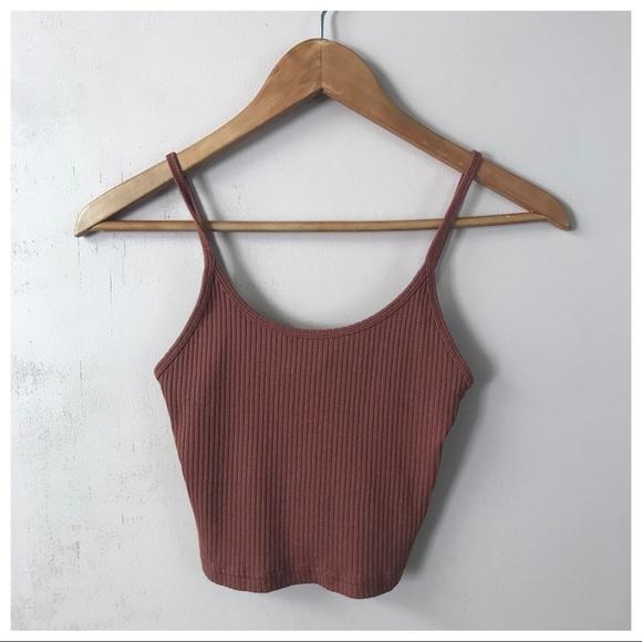 ‼️SOLD‼️TopShop Pinkish Brown Ribbed Crop Top